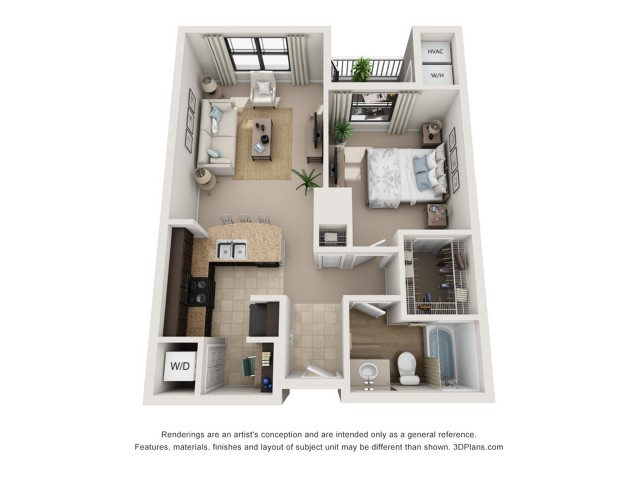 A2 Floorplan| One Bedroom | One Bathroom