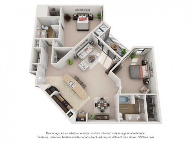 B8 | Two Bedroom Floor Plans 7 | Apartments In Raleigh NC | NorthCity 6