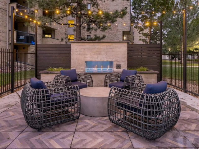 Image of Outdoor Fire place for Lakeview Towers at Belmar Apartments