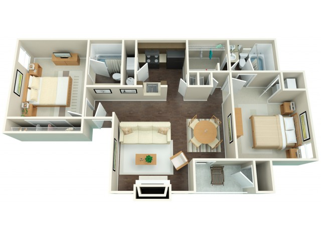 2x2 | 2 bed 2 bath | from 953 square feet