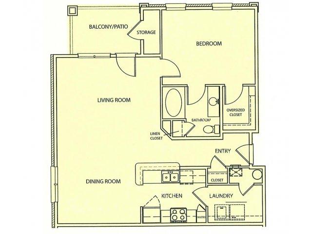 1 Bedroom Floor Plan | Lauren Ridge