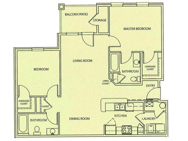 2 Bedroom Floor Plan | Lauren Ridge