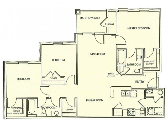 3 Bedroom Floor Plan | Lauren Ridge