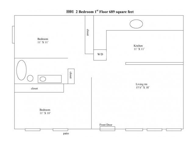 Two Bedroom Floorplan   Pacific Crest 2
