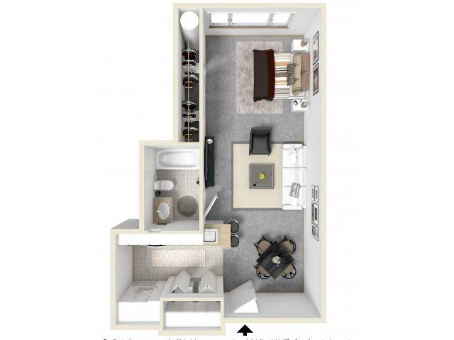 Studio Floor Plan   Tempe AZ Apartments   Tempe Metro