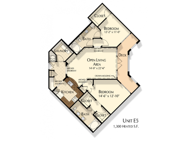 E5 | 2 bed 2 bath | from 1300 square feet