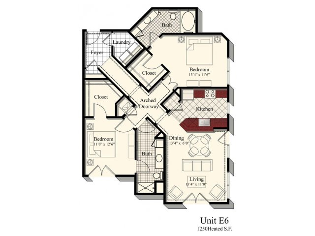 E6 | 2 bed 2 bath | from 1250 square feet