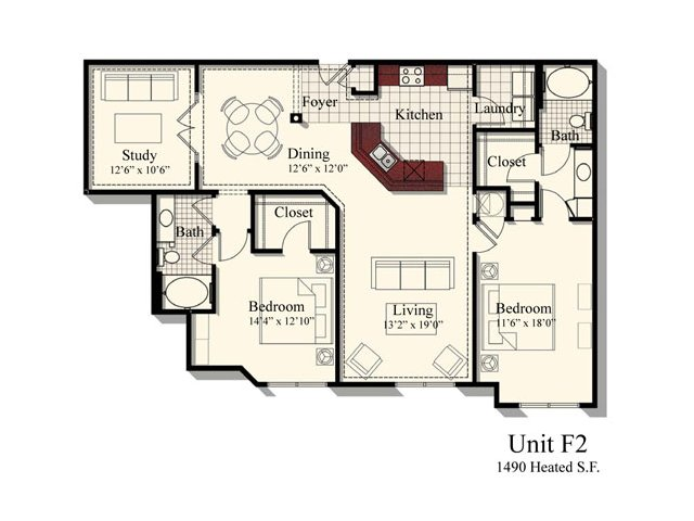 F2 | 2 bed 2 bath | from 1490 square feet