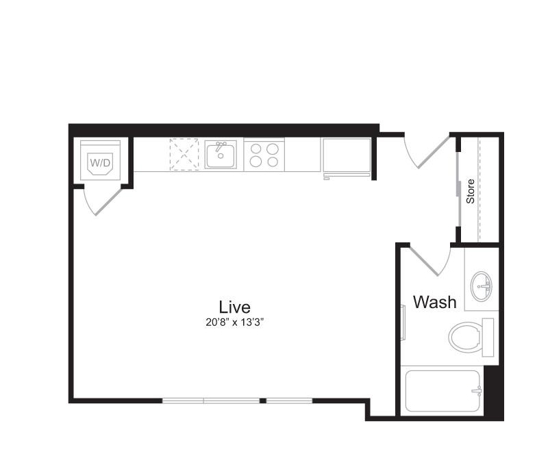 Studio Floor Plan | Mark on 8th 3