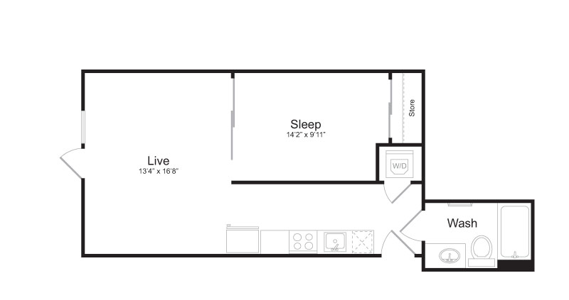 1 Bedroom Floor Plan | Mark on 8th 3