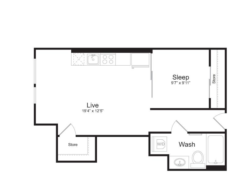 1 Bedroom Floor Plan | Mark on 8th 4