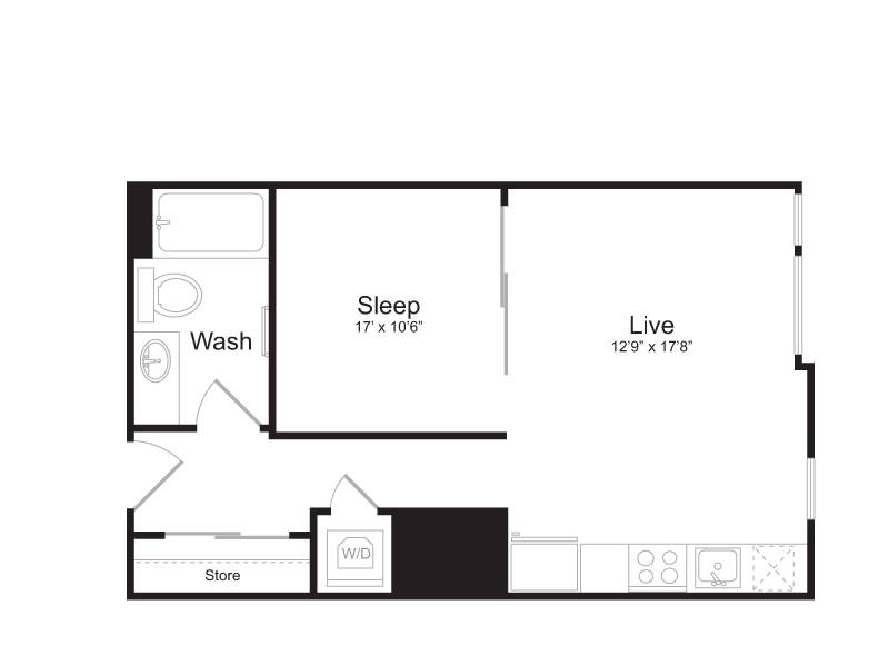 1 Bedroom Floor Plan | Mark on 8th 5