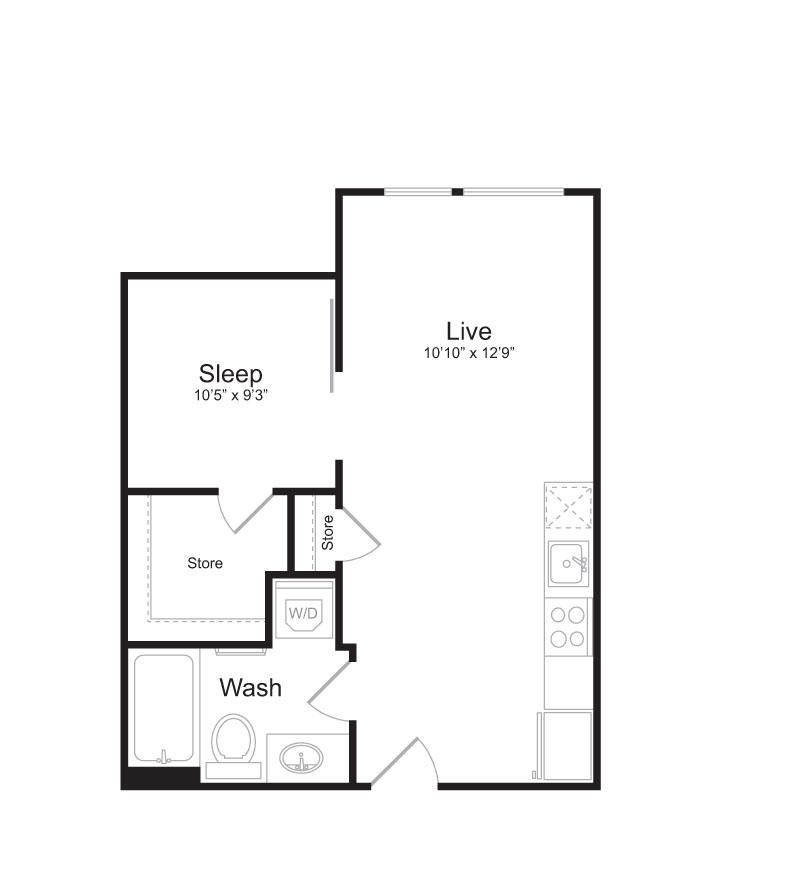 1 Bedroom Floor Plan | Mark on 8th 6