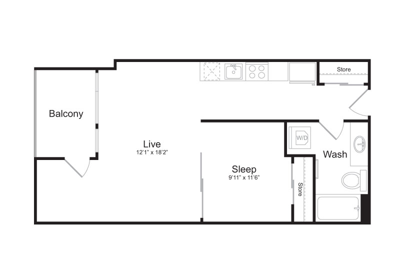 1 Bedroom Floor Plan | Mark on 8th 7