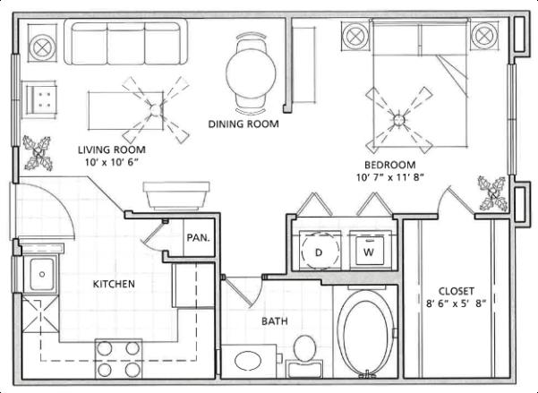 1 Bedroom Floor Plan   Vail Quarters