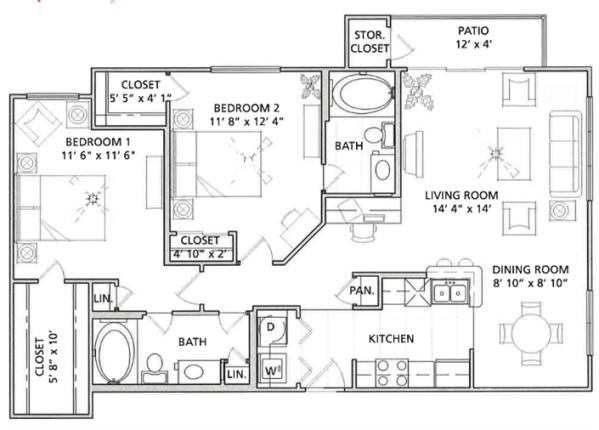 2 Bedroom Floor Plan   Vail Quarters