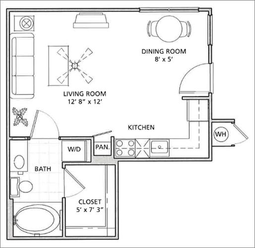 Studio Floor Plan   Vail Quarters