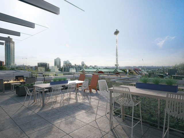 Image of Roof deck lounge with city views for Mark on 8th Apartments