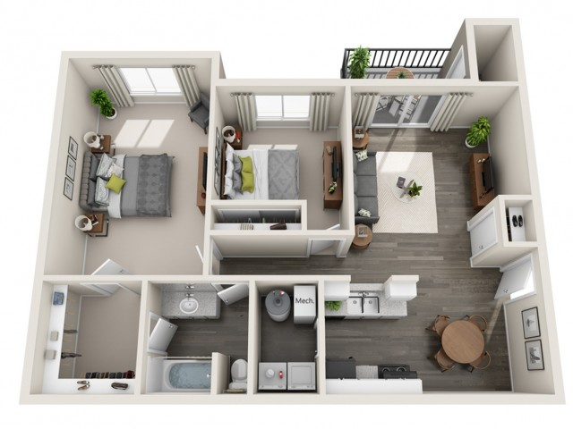 Large Two Bedroom One Bath | 2 bed 1 bath | from 970 square feet