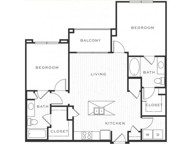 2 Bedroom Floorplan | Luxe Scottsdale 2