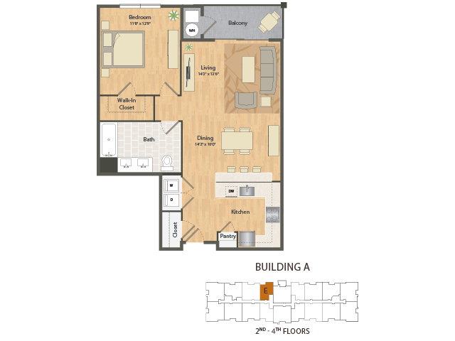 1 Bedroom Floor Plan | The Apex at 290