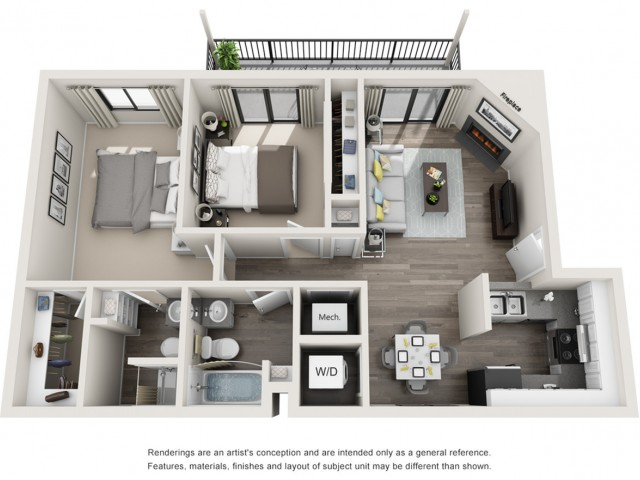 Two Bedroom Two Bathroom Floor Plan   Apartments For Rent Arvada CO   The Ridge at Mountain View