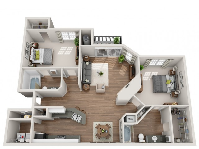 2 Bed / 2 Bath Apartment in Austin TX | Terrazzo Apartments