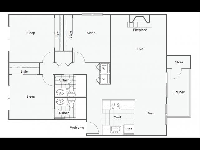 Floor Plan 12   One Bedroom Apartments In Tempe   505 West