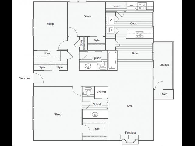 Floor Plan 14   Luxury Apartments In Tempe   505 West