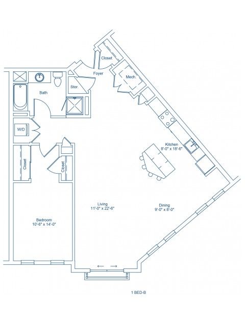 Floor Plan of 1-B