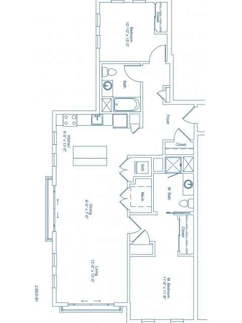 Floor Plan of 2-B1