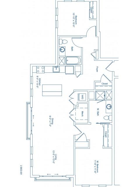 The Shipyard Floor Plan - 2-B1