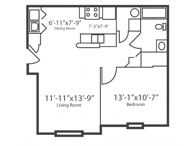 1 Bedroom Floor Plan | Apartments For Rent In Columbus OH | The Attleigh