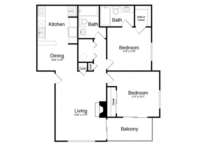 Floor Plan 5 | Englewood Apartments | Silver Cliff