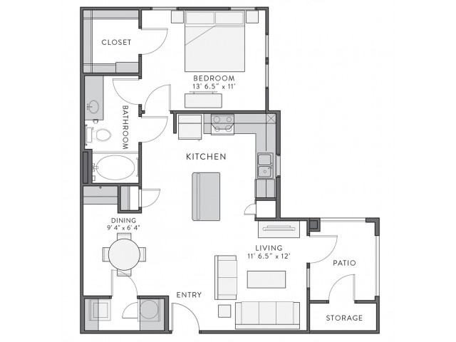 Floor Plan 2 | 1 Bedroom Apartments In Lake Charles La | Watervue
