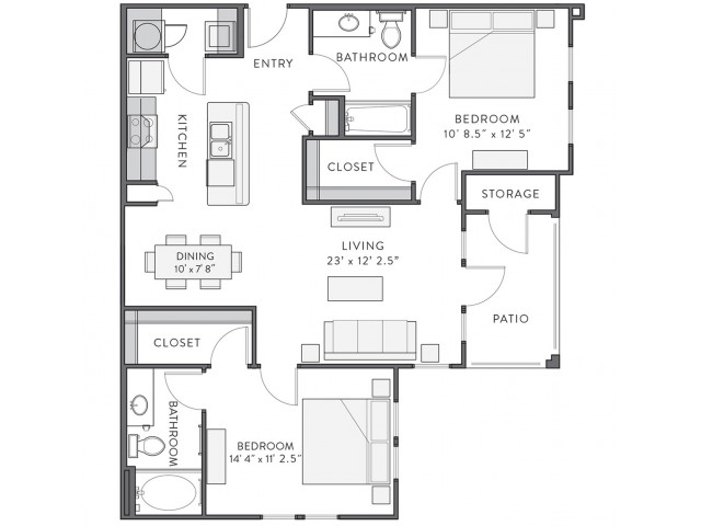 Floor Plan 4 | Lake Charles Louisiana Apartments | Watervue
