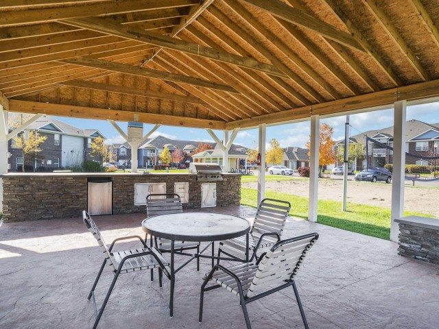 Image of Outdoor Covered Kitchen for Autumn Breeze
