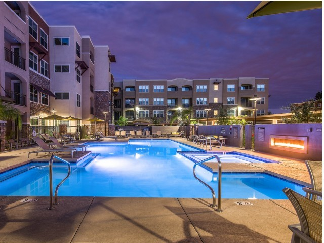 Image of Resort style pool and spa, poolside fireplace for Luxe Scottsdale Apartments