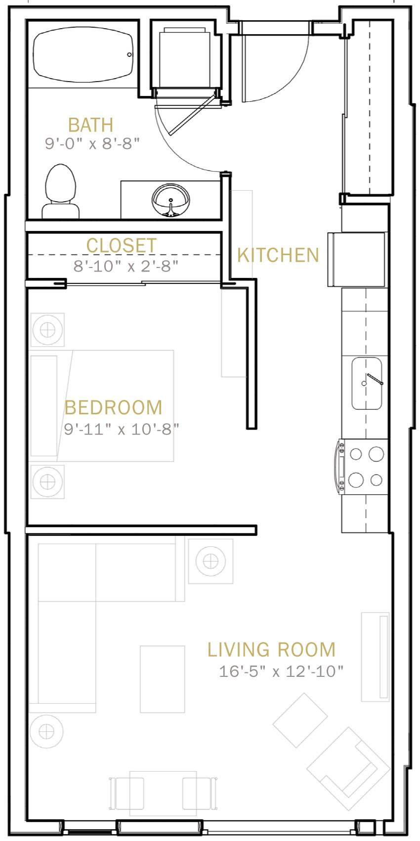 One Bedroom 640 Sqft