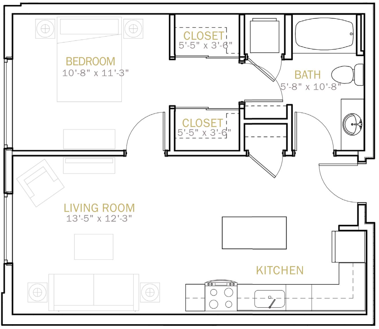 One Bedroom 700 Sqft