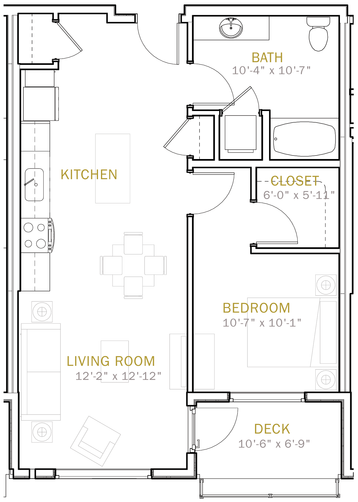 One Bedroom 750 Sqft