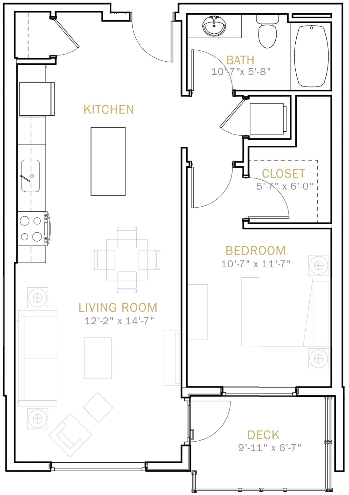 One Bedroom 765 Sqft
