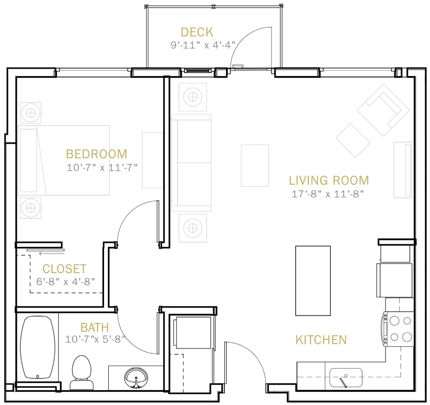 One Bedroom 685 Sqft