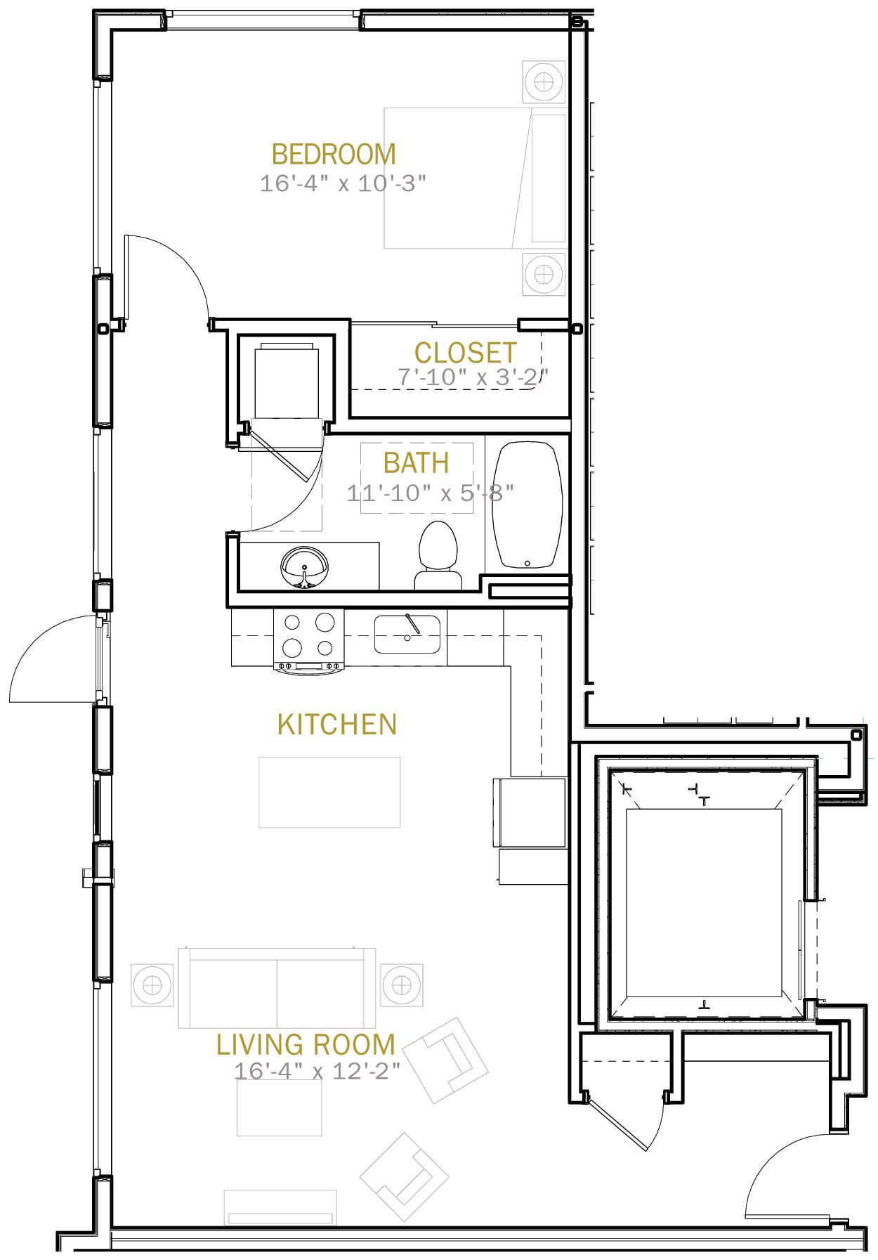 One Bedroom 825 Sqft