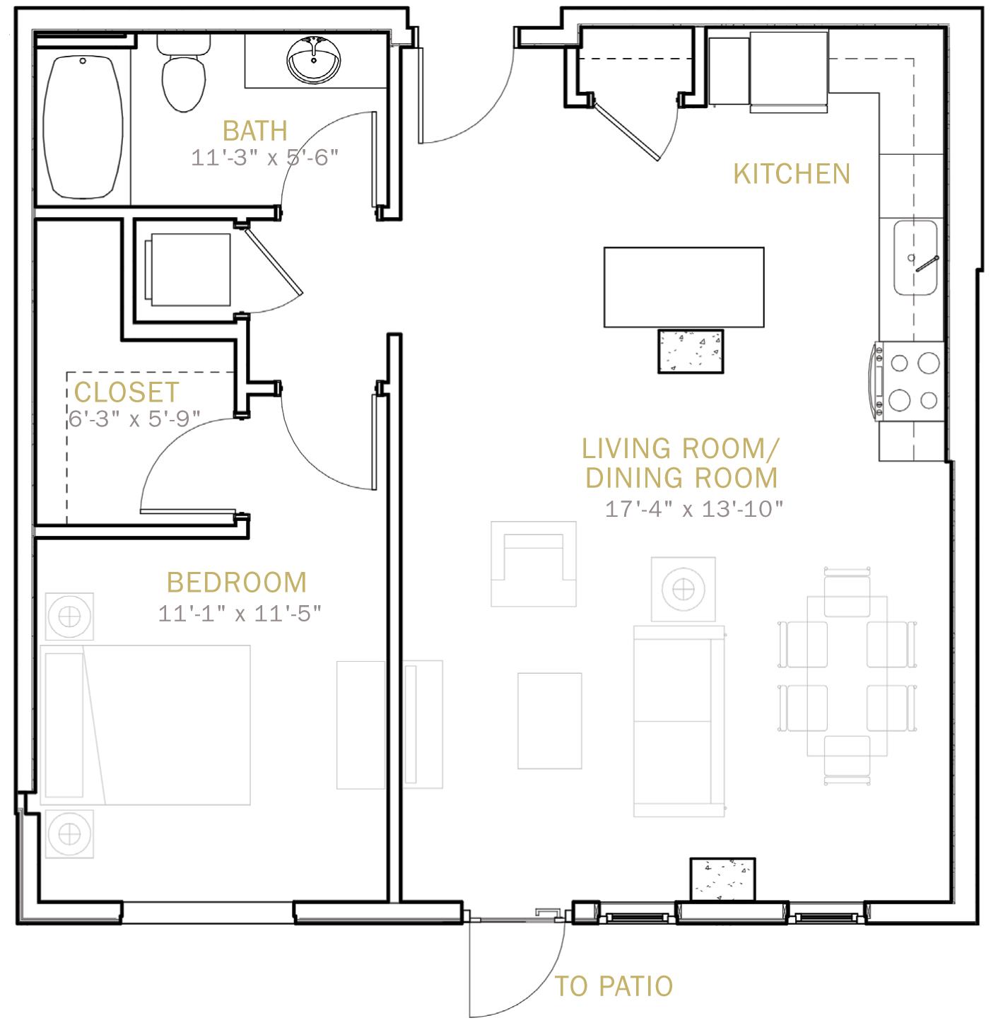 One Bedroom 785 Sqft