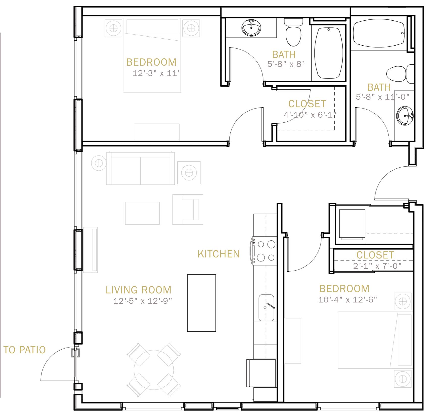 Two Bedroom 1050 Sqft