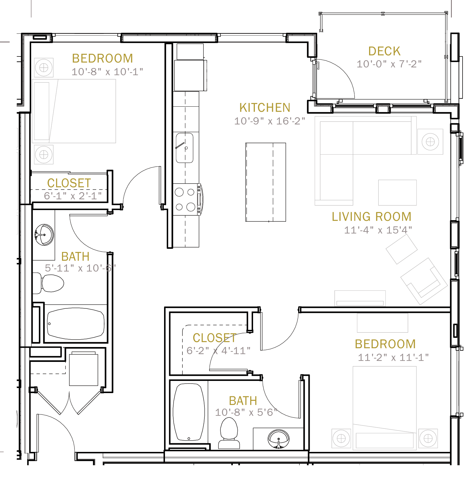 Two Bedroom 1075 Sqft