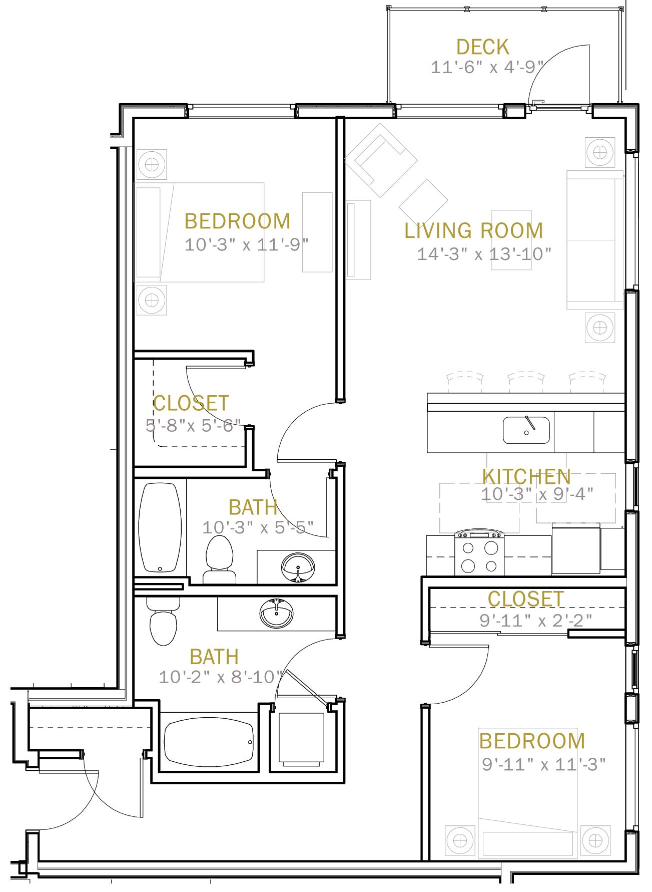 Two Bedroom 1040 Sqft