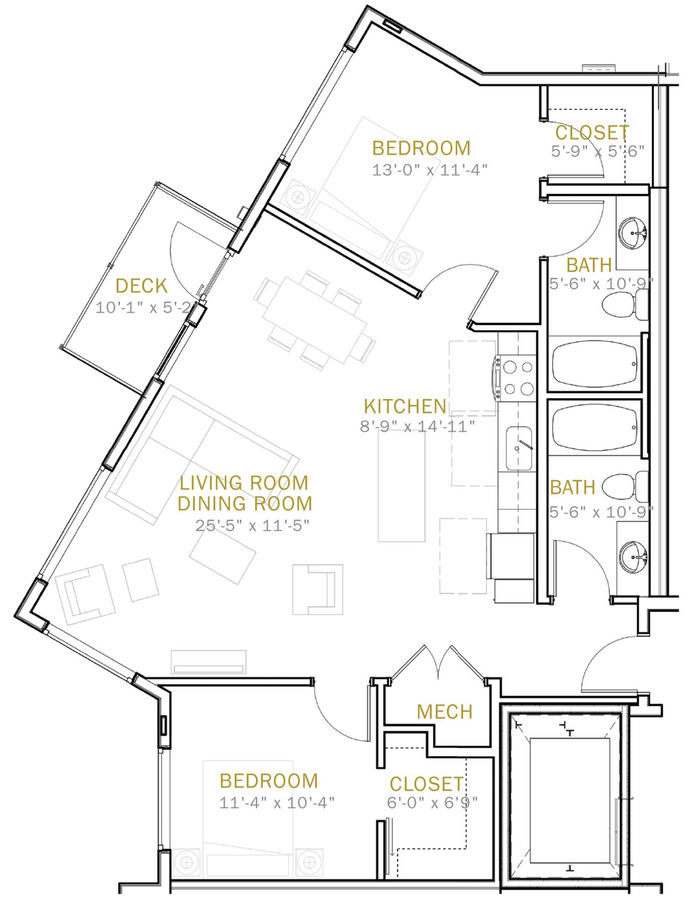 Two Bedroom 1100 Sqft