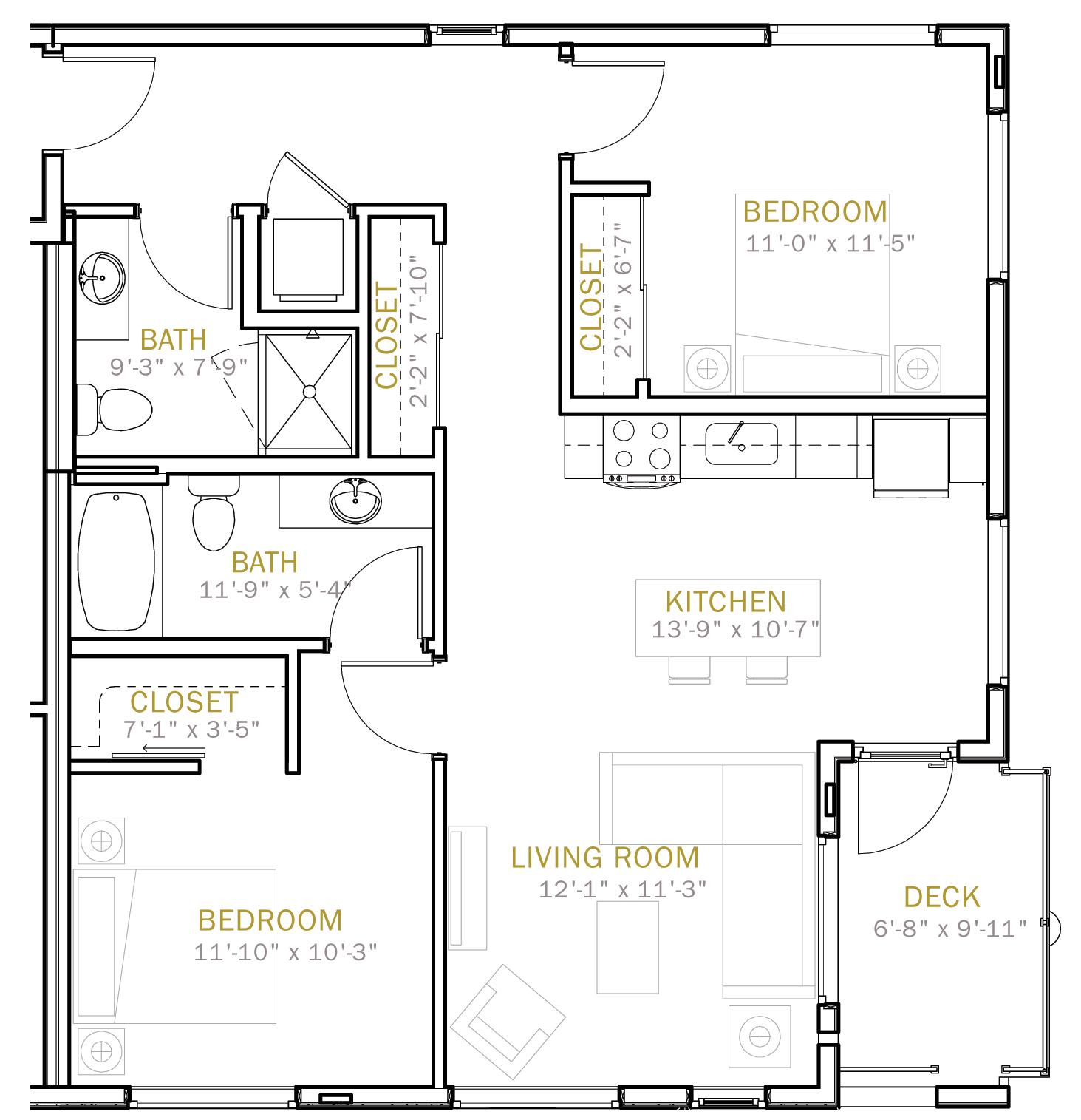Two Bedroom 1018 Sqft